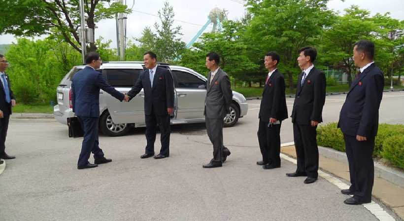 South Korea's advance team for a joint liaison office visits the Gaeseong Industrial Complex