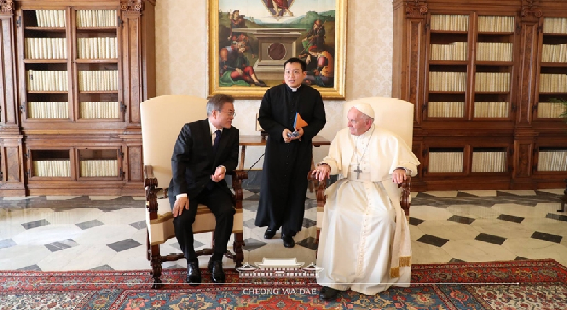 "Pope Francis says, ""I am the one who should feel grateful to Chairman Kim Jong Un…I can go…"""