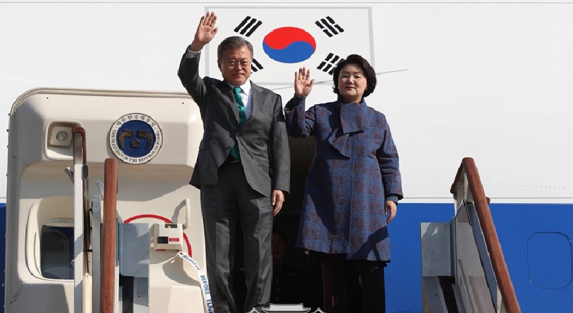 President Moon Jae-in returns from nine-day European trip